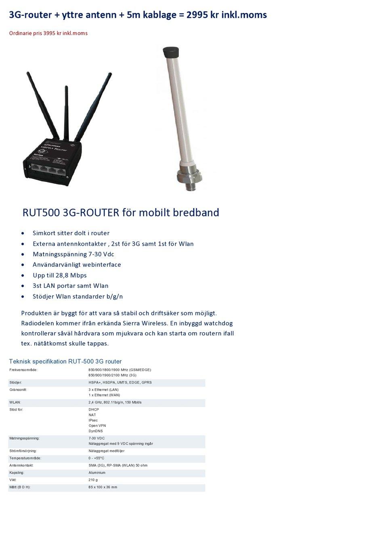 mobilt bredband 3g router