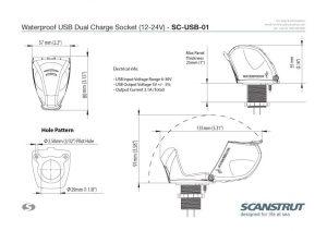 Waterproof-USB-Socket-Technical-Drawings
